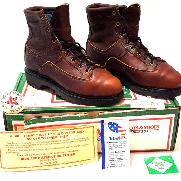 b6a3318f8d6 Vintage Iron Age Leather Steel Toe Work Boots NWT